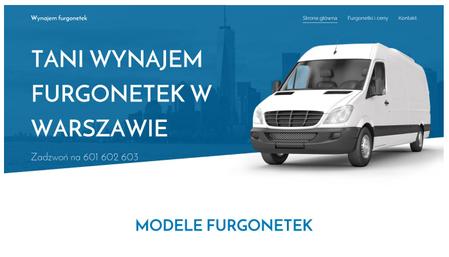 Szablon dla wypożyczalni furgonetek