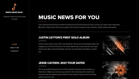 Music blog template