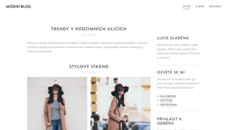 Šablona módní blog